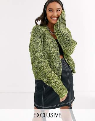 Collusion COLLUSION cropped cardigan in space dye yarn-Yellow