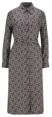 HUGO BOSS Silk Twill Shirt Dress With Monogram Print - Patterned