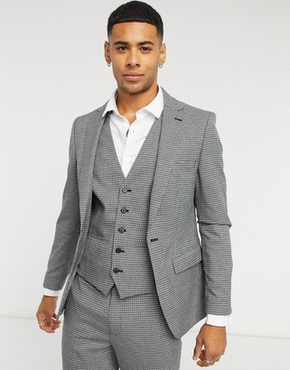 Rudie checked skinny fit suit jacket in gray