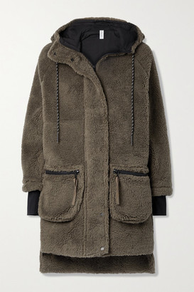 Varley Midvale Hooded Faux Shearling Jacket - Army green