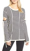 Trouve Stripe Cutout Sleeve Sweater