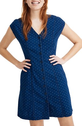 Madewell Rainbow Heart Indigo Cap Sleeve Button Front Dress