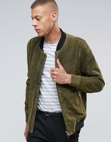 Bellfield Two Way Zip Khaki Leather Bomber