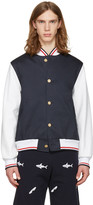 Thom Browne Navy Varsity Jacket