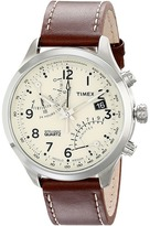Timex Intelligent Quartz Fly Back Chronograph Leather Strap Watch Watches