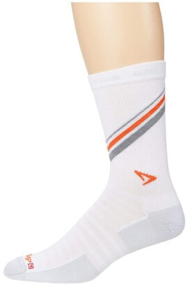 Drymax Sport Extra Protection Hyper Thin Crew/Vented 1-Pair (White/Gray/Orange Stripes) Crew Cut Socks Shoes