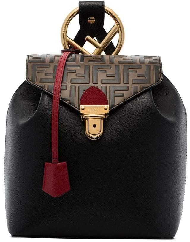 Fendi black and brown logo leather backpack