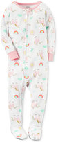 Carter's 1-Pc. Unicorn-Print Cotton Footed Pajamas, Baby Girls (0-24 months)