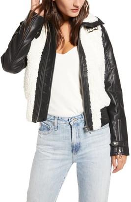 Blank NYC BLANKNYC Faux Leather & Fleece Bomber Jacket