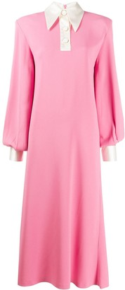 Rowen Rose Two-Tone Collared Maxi Dress