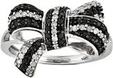 FINE JEWELRY 1/3 CT. T.W. White and Color-Enhanced Black Diamond Bow Ring