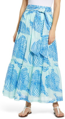 Vineyard Vines Palm Frond Tiered Cotton Maxi Skirt