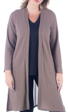 24seven Comfort Apparel Women's Plus Size Knee Length Cardigan