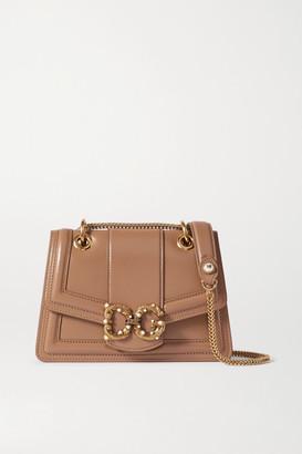 Dolce & Gabbana Amore Embellished Leather Shoulder Bag - Beige