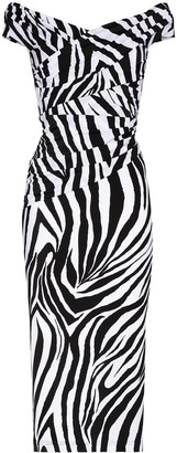 Halpern Off-Shoulder Zebra Print Dress