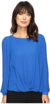 Vince Camuto Pleated Sleeve Fold-Over Blouse