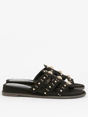 Evans Extra Wide Fit Studded Sliders - Black