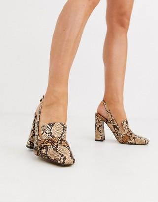 Asos Design DESIGN Peggy square toe heeled loafers in snake-Multi