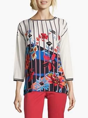 Betty Barclay Embellished Floral Graphic Top, Cream/Dark Blue