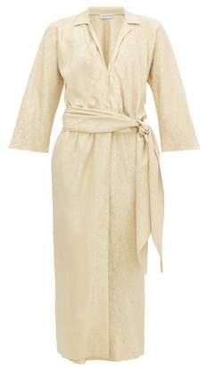 Halston William Vintage 1974 Belted Lame Wrap Dress - Womens - Gold