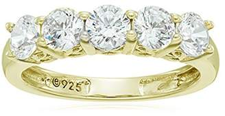 Swarovski La Lumiere Yellow gold- Plated Sterling Silver Zirconia 1 cttw Round 5 Stone Ring Size P1/2