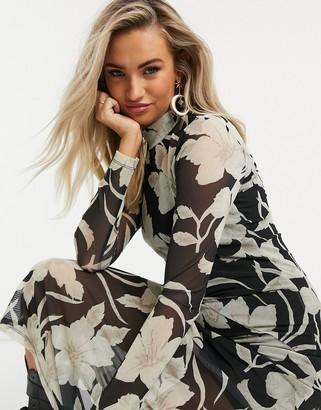 AllSaints Hanna Jardin long sleeve mesh maxi dress with flower print in black