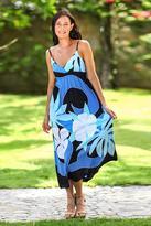 Women's Floral Painted Maxi Dress, 'Blue Floral Classic'