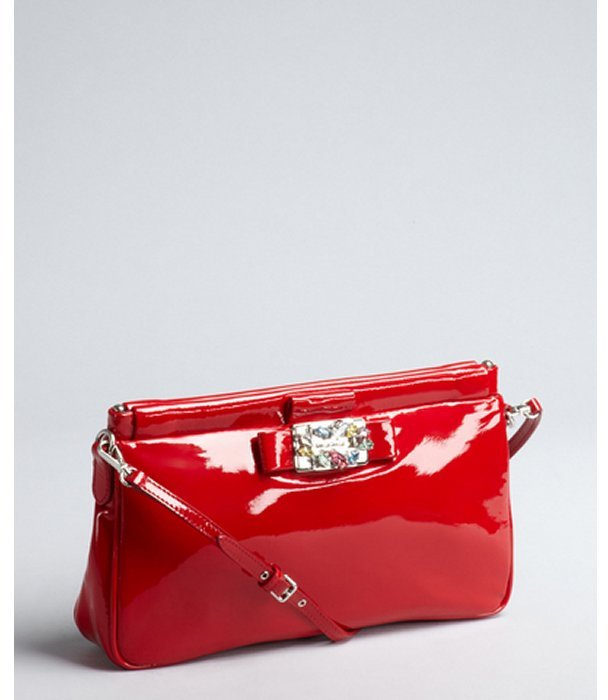 Miu Miu Red Patent Leather Jeweled Convertible Baguette