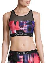 Calvin Klein Mesh-Accented Racerback Bikini Top