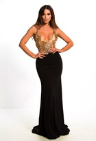 Pink Boutique Andressa Black and Gold Maxi Dress