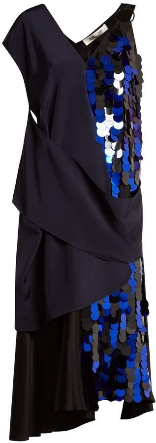 Diane von Furstenberg Embellished asymmetric V-neck silk dress