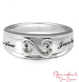 Zales Open Hearts Family by Jane SeymourTM Personalized Wedding Band in Sterling Silver (2 Names)
