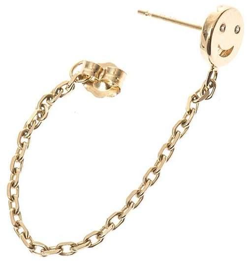 Alison Lou 14K Single Happy Face Chain Earring With Diamonds