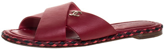 Chanel Red Leather Braided Trim Criss Cross CC Flat Slide Size 38