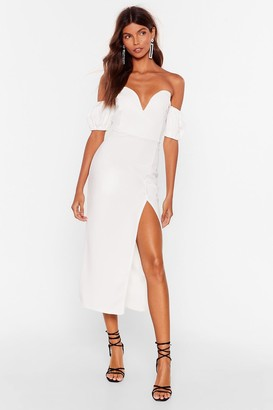 Nasty Gal Womens Everybody Wants To Call You Sweetheart Midi Dress - White - 12