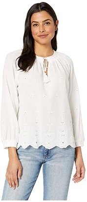 Lucky Brand Eyelet Scalloped Edge Peasant Top (Lucky White) Women's Blouse