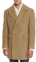 Lubiam Double-Breasted Wool-Blend Pea Coat, Camel