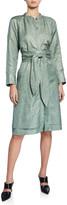 PARTOW Poe Shiny-Coated Linen Jewel-Neck Shirtdress