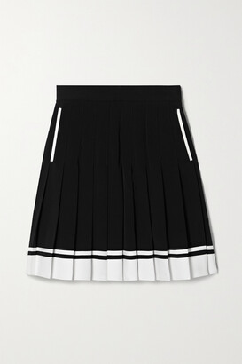 Balmain - Pleated Two-tone Crepe Mini Skirt - Black