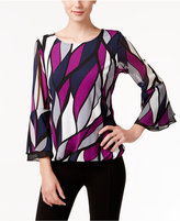 Alfani Petite Printed Bell-Sleeve Blouson Top, Only at Macy's