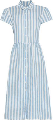 Reformation Marcel Striped Linen Midi Shirt Dress
