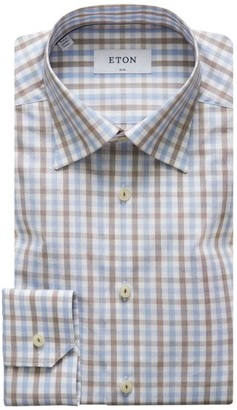 Eton Check Slim-Fit Cotton Dress Shirt