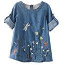 Hot Baby Dress! AMA(TM) Toddler Kids Baby Girls Long Sleeve Flower Embroidery Denim Princess Dress (4/5T, Blue)
