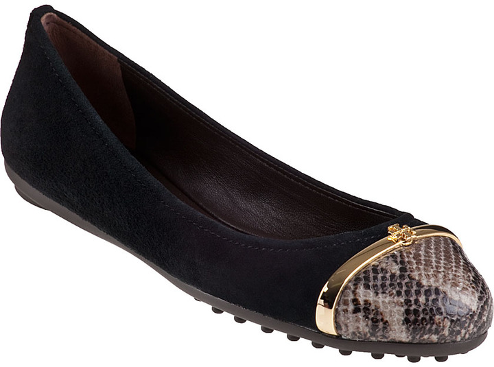 Tory Burch Pacey Driver Ballet Flat Black Suede