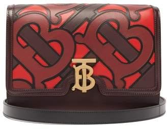 Burberry Tb Medium Monogram-applique Leather Cross-body Bag - Womens - Burgundy Multi