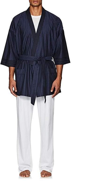 Barneys New York Men's Striped Cotton Belted Robe