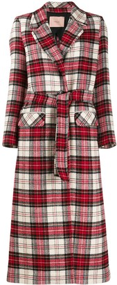 Twin-Set Checked Single Breasted Coat