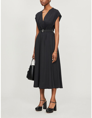 Prada Belted crepe midi dress