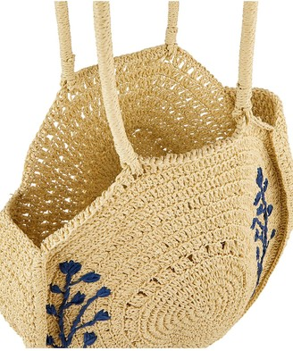 Monsoon Florence Floral Embroidered Straw Bag - Natural