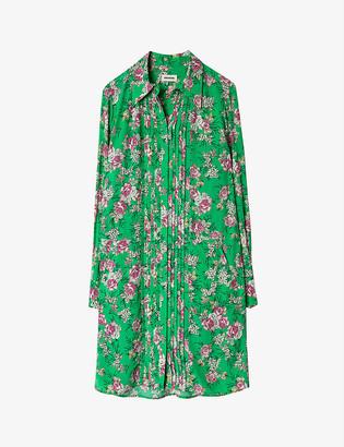 Zadig & Voltaire Rougi rose-print crepe shirt dress